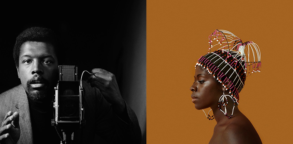 Untitled (Self- Portrait), c. 1964; Kwame Brathwaite, Sikolo Brathwaite wearing a beaded hairpiece by designer Carolee Prince, c. 1967.