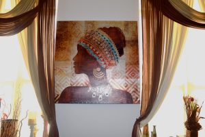 A painting in one of the apartments.