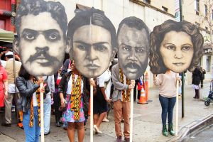 Historic figures were presented at the center's 2016 grand opening. From left: Arturo Alfonso Schomburg, Frida Kahlo, and Marcus Garvey., y Julia De Burgos Photo: Edwin Pagan