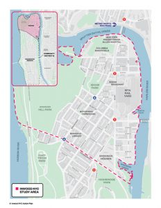 The Inwood NYC study area encompasses the area of Manhattan bounded by Dyckman Street and the Hudson and Harlem Rivers. Image: NYCEDC
