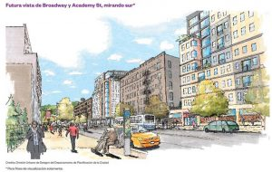 A future rendering of Broadway and Academy Street presented by the EDC. Image: NYCEDC