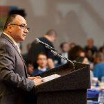 LCLAA-NYC's Eduardo Rosario addresses guests.