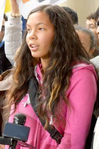 Ayisha Minaya spoke her piece at a City Hall rally on February 22nd.