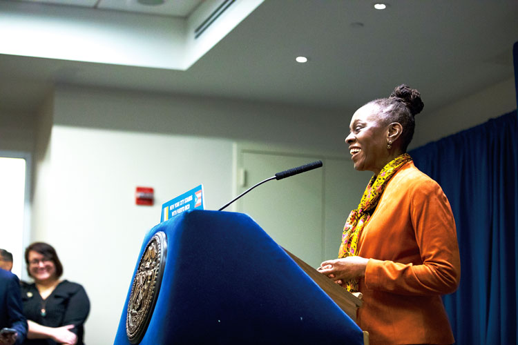 """The sense of security and stability for too many people is gone,"" said First Lady Chirlane McCray. Photo: Mayoral Photography Office"