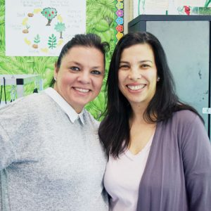 """It's a relaxing space,"" said science teacher Patricia Desapio (left) with colleague Elkis Felice."