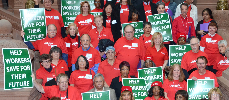 AARP volunteers have rallied in Albany.