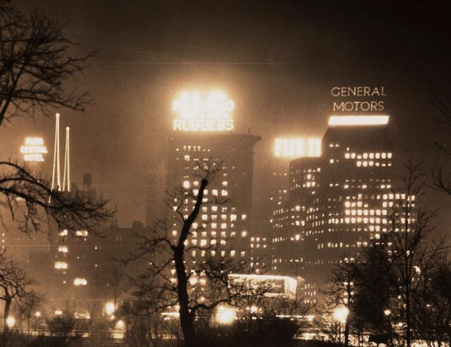 New York Edison Company, [Columbus Circle at night], January 9, 1928, gelatin silver print X2010.11.1759.