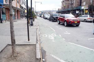 The Dyckman bike lanes were installed last year. Photo: Gregg McQueen.