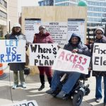 Transit advocates protested at 110th Street.