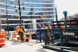 Workers began the capital renovations on Monday.