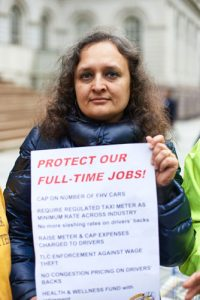 """We are sick and tired of burying our brothers,"" said Taxi Workers Alliance's Bhairavi Desai."