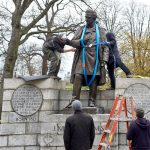 NYC Parks workers took down the statue of J. Marion Sims.