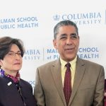 From left: Dr. Lee Goldman, Chief Executive of Columbia University Medical Center; Dr. Linda Fried, Dean of the Mailman School of Public Health; Congressman Adriano Espaillat; and Wafaa El-Sadr, Director of ICAP.