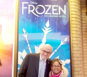 Kinsey, 9, is a kidney recipient. She is shown here with Lee Perlman, Chair of the LiveOnNY Foundation at the opening of the new Broadway musical Frozen.