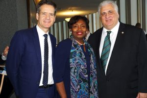 TWU Local 100 President Tony Utano (far right) with State Senators Andrea Stewart-Cousins and Brad Hoylman.