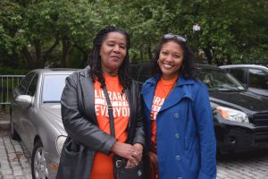 """""""The libraries definitely need more funding,"""" said Valencia (left), here with colleague Traci."""