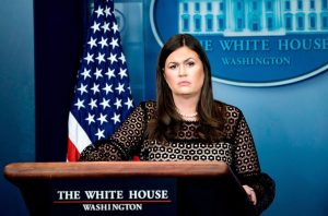 Sarah Huckabee Sanders at her post as Press Secretary.