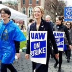 New York gubernatorial candidate Cynthia Nixon (center) joined the picket line.