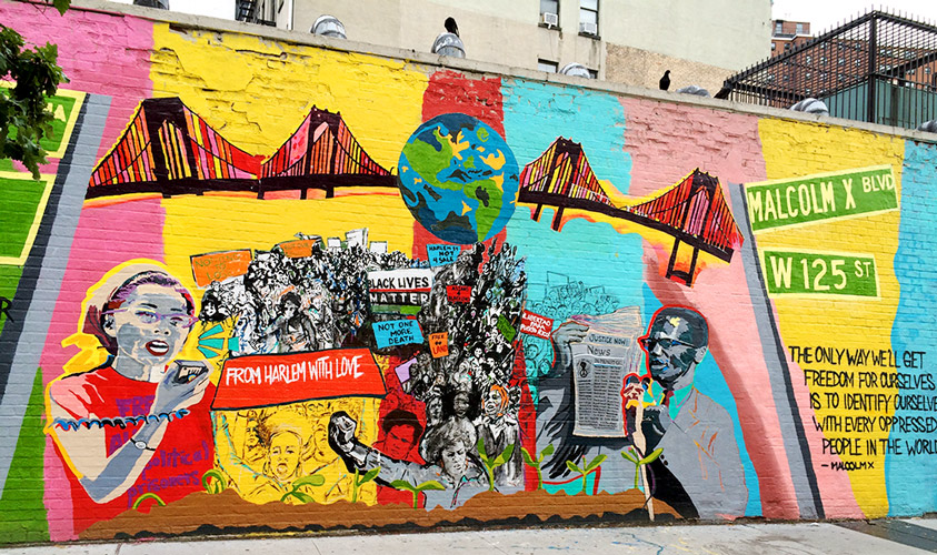 From Harlem with Love: A Mural Project for Yuri & Malcolm. Photo: Noah Lichtman