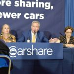 """If we don't reduce the number of cars, we're all screwed,"" argued Mayor Bill de Blasio (center).""If we don't reduce the number of cars, we're all screwed,"" argued Mayor Bill de Blasio (center)."