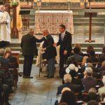 Desde la izquierda: Charles Rangel con David Dinkins y Andrew Cuomo en el funeral.