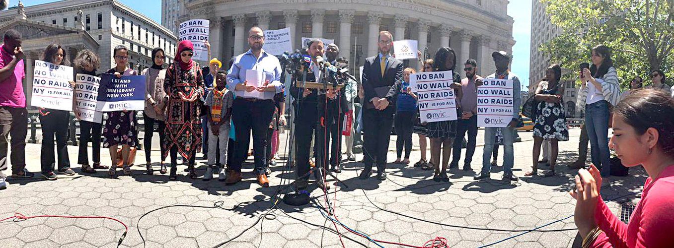Immigrant and faith leaders gathered in Foley Square at noon.