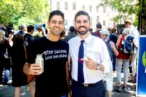 Activist Adrian Grenier and Councilmember Rafael Espinal.