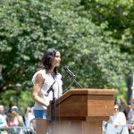 Padma Lakshmi spoke out at Cadman Plaza. Photo: C. Vivar