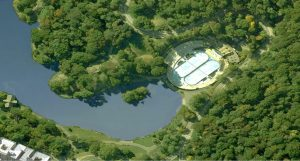 Aerial view of current configuration of the pool and rink. Photo: NYC Parks