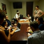 Advocates ordered pizza for the long night.
