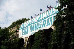 The supremacist group unfurled banners in Fort Tryon Park.