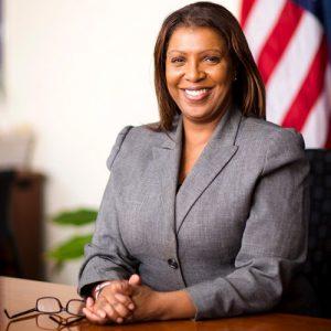 la actual defensora pública de la ciudad de Nueva York Letitia James