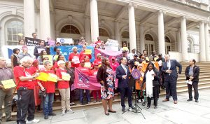 Lawmakers and advocates rallied at City Hall.