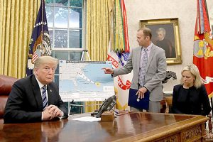 President Donald Trump during a hurricane briefing.