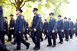 The ceremony drew firefighters and EMS personnel from all over the city.