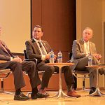 The morning panel featured (from left) Miami Dade College President Dr. Eduardo Padrón; Queens College President Dr. Félix Matos Rodríguez; and Lehman College President Dr. José Luis Cruz.