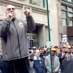 """""""We will not back down from this fight,"""" said Chris Erikson, Business Manager of IBEW Local 3."""