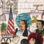 drawing of church service on sheet music