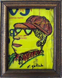 Drawing of woman on a Cafe Bustelo package