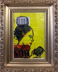 drawing of a woman on a Cafe Bustelo can that incorporates the UPC code in her hairstyle