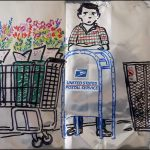 drawing of man with baskets of flowers using a postal package