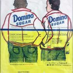 drawing of two men on a domino sugar package