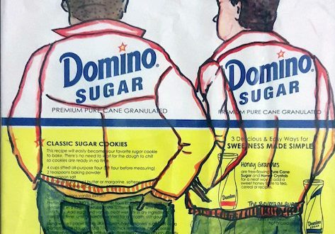 Collage of two men on Domino Sugar package